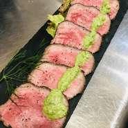 「すこやか大地牛」を使用した上質なローストビーフ。一手間加えた独自の調理法で仕上げており、3種類の味付けで堪能できます。「縁といえばローストビーフ」と言われる程。外せない一品です。