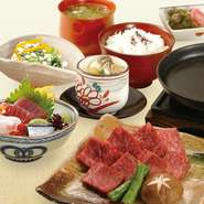 小鉢 和牛鉄板焼き 茶碗蒸し ご飯 香の物 シジミ汁