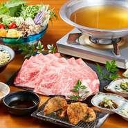 前菜3種+1品料理+肉(アグー豚 バラ+ロース&石垣牛 赤身+リブロース)+野菜バイキング+〆(沖縄そばまたは雑炊)+デザート