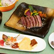 彩り野菜盛り合わせ・本日のスープ・信州和牛サーロイン130g又はヒレ肉130g・サラダ・焼き野菜・ガーリックライス又は白御飯・デザート