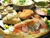 刺身に三大蟹と海鮮メインのコース。観光の方や道外のお客様に特にお勧めのコースになっています!
