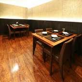 ゆとりある空間で食すステーキ割烹。食事と会話を愉しんで