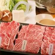 北海道産黒毛和牛の三つの美味しさを食べ比べできる、贅沢でお得なコース。サシがたくさん入った「極上」、赤身と脂のバランスがよい「特選」、赤身肉の旨みが強い「黒毛」の味わいを楽しめます。