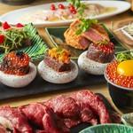 【梅田駅1分 個室 居酒屋】贅沢!うにく、肉寿司、牛タンしゃぶしゃぶ等がついた豪華絢爛コースです。