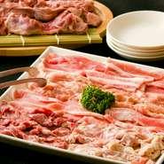 赤肉(豚サガリ)・ホルモン(豚)・豚バラ・トントロ・セセリ(鶏) ※仕入れにより内容が変更になる場合があります。