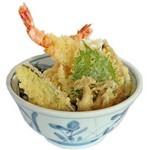 錦山の特製海老天丼(お味噌汁付)