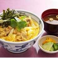 厳選国産鶏を使用。  ミニ親子丼(お味噌汁付):550円