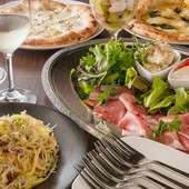 本場イタリアより取り寄せた食材、そこで学んだ料理で構成する、お料理6~7品のコース。【飲み放題付き】