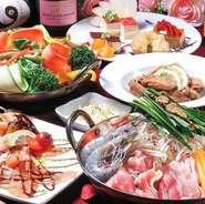 選べるお鍋やチーズフォンデュなど、目玉料理ありのコース料理はリーズナブルな価格でしっかりと楽しめます。ワイン・ビールなどの飲み放題付き、幹事の方も安心です。