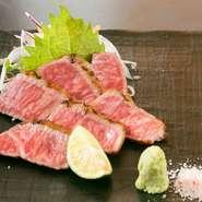 【どう前】のこだわりは魚介だけではありません。岡山県の牧場より直送された「千屋牛」は、日本最古の蔓牛としても有名。さらっとした脂から感じられる強い旨みに、肉好きもたまらず頷きます。
