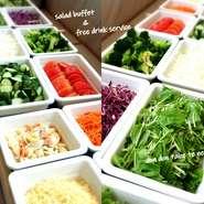 お野菜や総菜など、10種類以上が食べ放題です。ドリンクバーも付いていますので、時間を気にせずにゆったりとお楽しみいただけます。