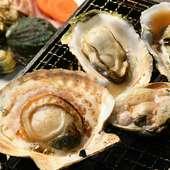 北海道・函館や全国各地から毎日直送の大きな貝を焼く『浜焼き』
