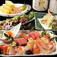 魚介は、日々市場に水揚げされる旬の海の幸の中から厳選したものだけを、入荷させています。また、季節ごとに京野菜もこだわりの一つ。伊賀産のコシヒカリや伊賀牛など、地産地消も大切にしています。