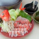 熊本県産、赤牛の囲炉裏焼きや金目鯛のしゃぶしゃぶなど【いろり割烹 あざみ】特選のコースとなります