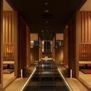 落ち着いた洋禅の雰囲気を纏う【KICHIRI 新宿】。 大小様々な個室やボックス席をご用意してお待ちしております。