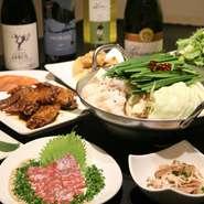 九州料理・名物『もつ鍋』・締めのひと品まで。九州の美食を味わいつくす、120分飲み放題付コースは、忘年会・歓送迎会にもオススメ。前日までにの要予約、コース詳細はコースメニューで紹介中です。