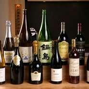 ワインは産地にこだわらず、飲んで美味しいものが厳選されています。料理に合わせての日本酒はもちろんワインは相性にぴったりのものをマッチングしてくれる『おまかせペアリング』でどうぞ。