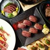 上州牛のカルパッチョに刺身、しゃぶしゃぶ鍋、肉すしなど豪華宴会に最適★たっぷり3時間飲み放題付き♪
