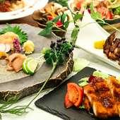 たたき、カツレツ、炭火焼き、照り焼きご飯など、鶏尽くしの贅沢なご宴会コース!