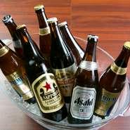 瓶ビールはサンキュー価格で提供。「アサヒ」「キリン」「サッポロ」「サントリー」の4銘柄を網羅しているのが嬉しい限り。ノンアルコールビールも用意されていて、飲めないときも安心です。