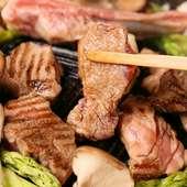 炭火の遠赤外線効果で肉も野菜も格別のおいしさ!