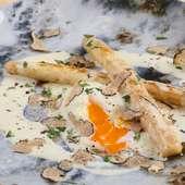 イタリア産 黒トリュフとこだわり道産卵の目玉焼き フォンドュータソース