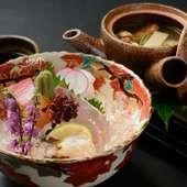多彩な旬魚介を冴えた包丁技と盛り付けの美で楽しむ『お造り』