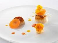 地元の食材を使った『北海道産帆立貝の片面焼き 香ばしい焼き雲丹と各務原の人参』