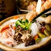素材の旨みが凝縮された『名古屋コーチンの水炊き(白湯鍋)』