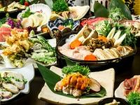 極上地鶏「名古屋コーチン」を使用した人気の宴会プラン。味わい深い『名古屋コーチンのすき焼き』は必食の一品です。3時間の飲み放題も付いて、宴会におすすめです。