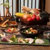旬の魚介を含むお料理と、2時間飲み放題がついたご宴会コースとなっております。