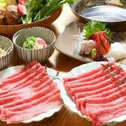 熊野牛の希少部位を使用した絶品のすき焼きをご堪能ください。 ★飲み放題をご希望の方は1人90分2000円(税別)となります。