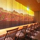 壁一面に映し出される茨城県の美しい景色を料理と共に
