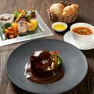 ・前菜の盛り合わせ ・本日のスープ&パン ・お魚料理 又は お肉料理 ・ドリンク