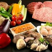 肉卸業に携わってきた社長による厳選された和牛を使っています。魚介類や野菜は、全国各地から仕入れる鮮度が高く高品質のものばかり。より美味しい鉄板焼を楽しめる食材を取り揃えています。