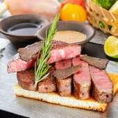 【完全予約制】 備長炭火焼き黒毛和牛極上赤身ステーキ会席接待・記念日