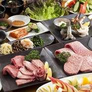 「山形牛」はきめ細かいサシが入っていますが脂っこくなく、赤くもなく、くどくもない上質な肉です。脂に甘みがあり、肉の旨味は芳醇。ロースやカルビ、ミスジなど、さまざまな部位でその美味しさを堪能できます。