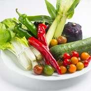 万願寺とうがらしや賀茂茄子などの京野菜だけでなく、加賀太キュウリやシロナなどの加賀野菜、一本ネギなどの能登野菜といった伝統野菜も積極的に使用。最近は在来種の野菜にも注目しています。