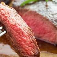 濃厚でも意外にヘルシー!牛の横隔膜は肉らしいざくりとしたワイルドなかみ心地。噛むと濃厚な肉汁が溢れ出す♪