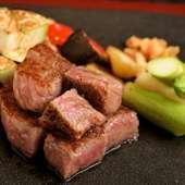 上質な宮崎牛を鉄板でジュウっと焼いて旨みを閉じ込める『宮崎県産黒毛和牛サーロイン 100g~』
