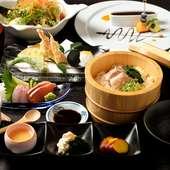 旬菜と飛騨コシヒカリの旨みを味わえる「炊き込みご飯」など9品のコース『SUI MOKUランチ』