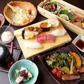 すしにステーキ、天ぷらと、美味しい料理の揃い踏み。『すしとつまみのおまかせコース<梅>』
