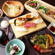 職人技を堪能できるすし、揚げたての天ぷら、旨味たっぷりのステーキ、小鉢などが一つのコースに。すしとつまみを交互に、様々な料理を一度に味わえて、お腹いっぱいになれる、人気のコースです。