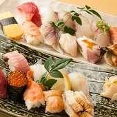 定番寿司ネタが集結! 職人が握る『上にぎり寿司・得盛にぎり寿司』