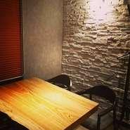 完全個室。落ち着いた空間で食事や会話を楽しんでいただけます。