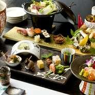 北海道から沖縄まで全国の食材をふんだんに取り入れたコース料理です。月々変わる旬の食材に技巧を凝らした一皿一皿が堪能できます。