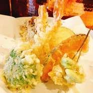 海老2本、本日の魚介、お野菜4種 サラダ、お食事セット