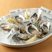 全国各地から仕入れる産地の異なる牡蠣を、贅沢に6種も食べ比べできる『生牡蠣全種盛り合わせ(6P)』