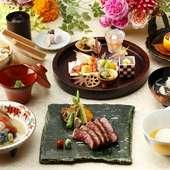 慶事にふさわしい華やかな京会席の祝い膳を用意