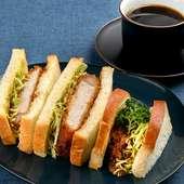 【ランチ限定】こだわりの食パンに三元豚の分厚いカツと新鮮キャベツのバランス『カツサンド』